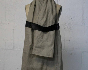 043 linen & leather scarf
