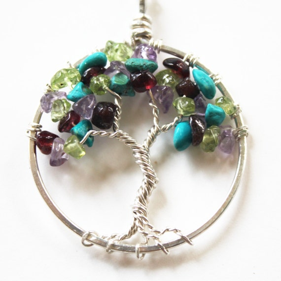 birthstone tree of pendant necklace sterling by