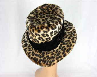 Vintage 60s Faux Leopard Spotted Hat