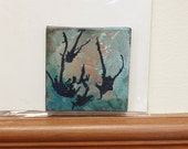 SALE! Twilight: Teeny Tiny Painting, Abstract, Original, 3x3 inches on canvas