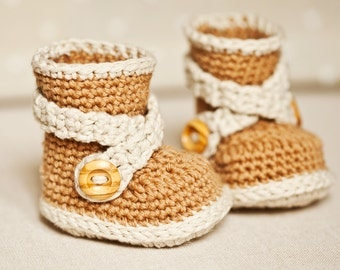 Instant download - Baby Booties Crochet PATTERN (pdf file) - Criss Cross Strap Boots