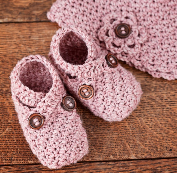 Instant download - Baby Booties and Hat Crochet PATTERN (pdf file) - Baby Shoe and Hat Set