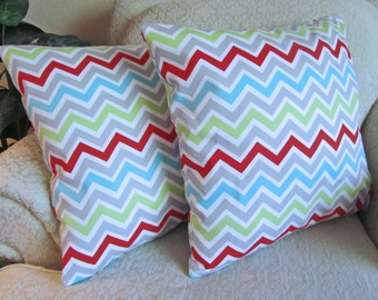 Christmas Decorative Chevron Cushion Covers, Graphic Pillow Covers, Geometric Pillow Covers, Christmas, Ice Blue - Set of Two - 18 x 18
