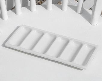 Dental Tray Milk Glass Six Channel Bobbin Thread Holder Drawer Organizer Beading Jewelry Vintage