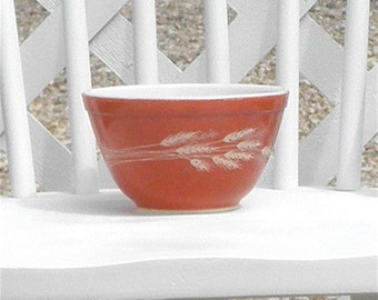 Pyrex Bowl Rust with Wheat Motif Mixing Bowl Vintage