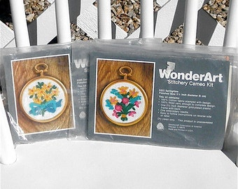 Stitchery Cameo Kit Floral Embroidery Kit Set of 3 With Frames Wonder Art Vintage