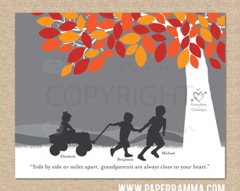 Grandparent Christmas Gift, Personalized Silhouette Print with Grandma + Papa's grandchildren // Choose Print Size & Type // H-F05-1PS HH9