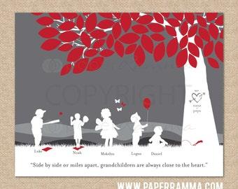 Grandparent Christmas Gift, Personalized Silhouette Print, Nana and Grandpa's grandchildren // Choice of print Size & Type // H-F05-1PS HH9