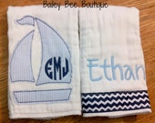 Custom Burp Cloths with Name and Monogram- chevron and sailboat