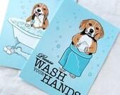 Beagle Bathroom Prints - 5x7 Eco-friendly Pair