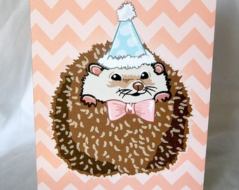 Chevron Hedgie Greeting Card