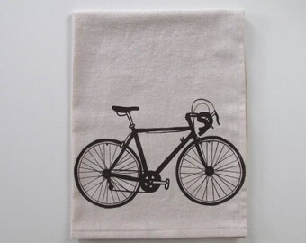 Cotton Kitchen Towel  - Road Bike - Choose your ink color