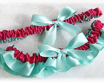 Bridal satin garter set Aqua and Fuchsia Pink, bridal accessories or prom garter set