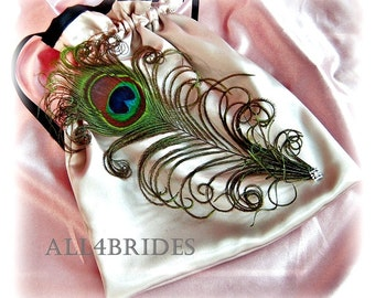 Peacock Weddings Bridal Bag - Champagne and Black Wedding Money Dance Bag - Bridal Accessories