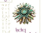 Pendant tutorial / pattern Andrej with superduo and petals beads – PDF instruction for personal use only