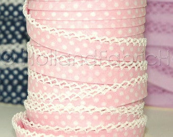 Double fold crochet edge bias tape, crochet bias tape, lace bias tape, baby pink bias tape, polka dot bias tape