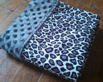 Leopard Waterproof Changing Pad - Grey Minky - 16 x 30 - Easy Care Mat Wash/Dry Gray Black