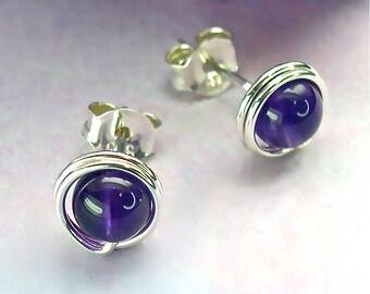 Amethyst Stud Earrings, Sterling Silver Studs, Semi-Precious Modern 5mm Gemstone Studs, February Birthstone / gift under 50