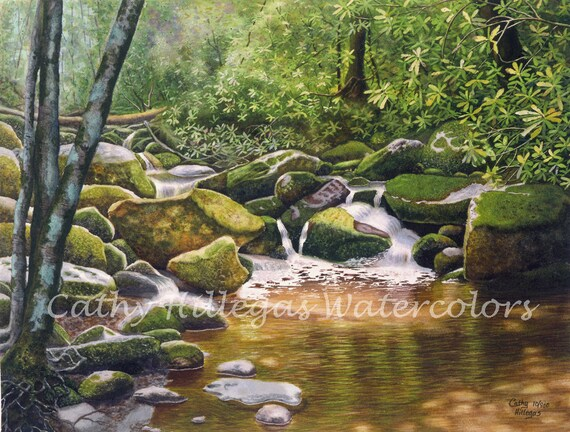 Roaring Fork Smoky Mountains Art Watercolor Painting Print By