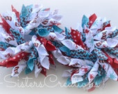 Small Korker Set Custom Print Dr Seuss Turquoise and Red Chevron