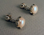 Large Pearl and Sterling Silver Post Earrings OOAK