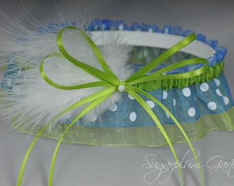 Wedding Garter in Lime Green and Royal Blue Polka Dot with Pearl and Marabou Feathers