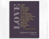50% off - LOVE is .... personalized Wall Art- 1 Corinthians 13:4-8 - Wedding Gift - Anniversary Gift - Gift Ideas