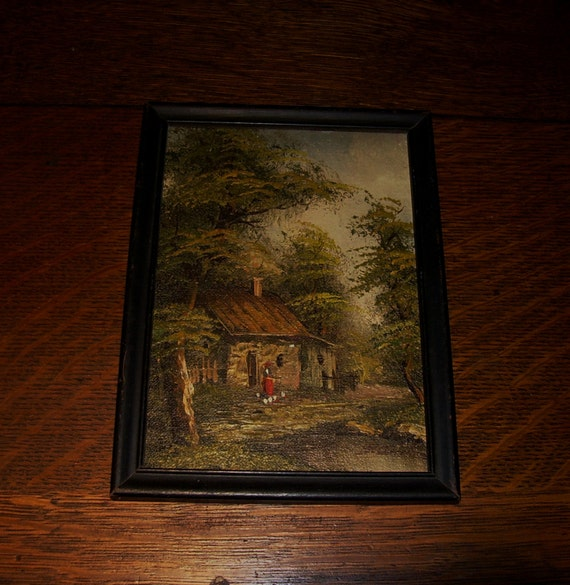 RESERVED 02/25 Antique Painting Cottage Woods oil board small 5 x 7 Lady Pond Ducks