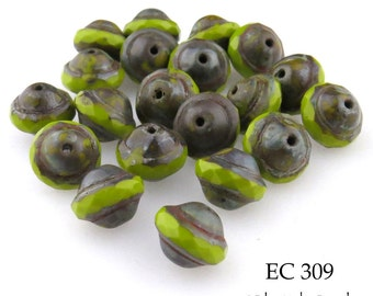 9mm Czech Lime Green Glass Beads Saucer (EC 309) 8pcs BlueEchoBeads