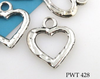 24mm Large Hammered Pewter Heart Toggle Clasp Antiqued Silver (PWT 428) 4 sets BlueEchoBeads