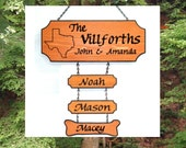 Custom Carved Family Name Sign with 3 addon names  - State Outline of your choice - Cedar