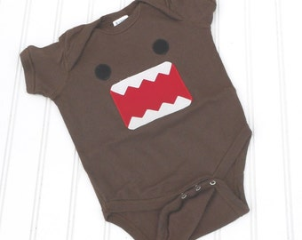 READY TO SHIP Great Costume / Baby Shower Gift Domo Inspired bodysuit sewn cotton applique