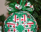 Quilted Ornaments Quilt Ball Ornaments Christmas Trees Snowflakes Red Green with Handmade Beaded Hanger and Charm