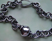 Unisex Sterling Silver Chain Bracelet, Men's Silver Bracelet, Handmade Jewelry, Heavy Chain and Link Bracelet