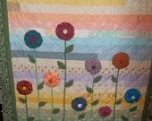 "LuLu's Yoyos-lap/sofa/baby/nursery quilt- wall hanging-49 x 57""-OOAK - patchwork"
