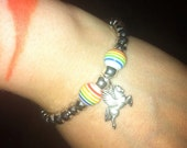 "6 1/2"" pegasus bracelet with rainbow beads"