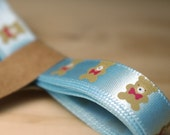 Blue Teddy Bear Satin Ribbon / 9 mm wide 175 cm long