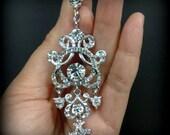 Chandelier Bridal Earrings, Clip On Earrings, Victorian Wedding Earrings, Long Dangle Earrings, Swarovski Crystal Wedding Jewelry, YOHANNA