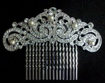 Statement Bridal Hair Comb, Art Nouveau Wedding Hair Jewelry, Swarovski Crystal Bridal Headpiece, Wedding Hair Comb, Gift for Her, FELICITY