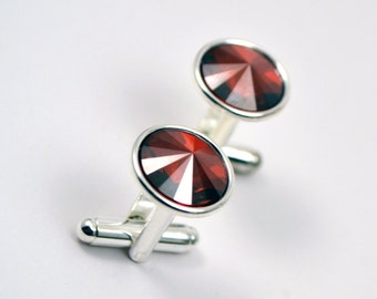 Red Magma Rhinestone Cuff Links For the Groom - Round Swarovski Crystal Mens Cuff Link in Gold or Silver