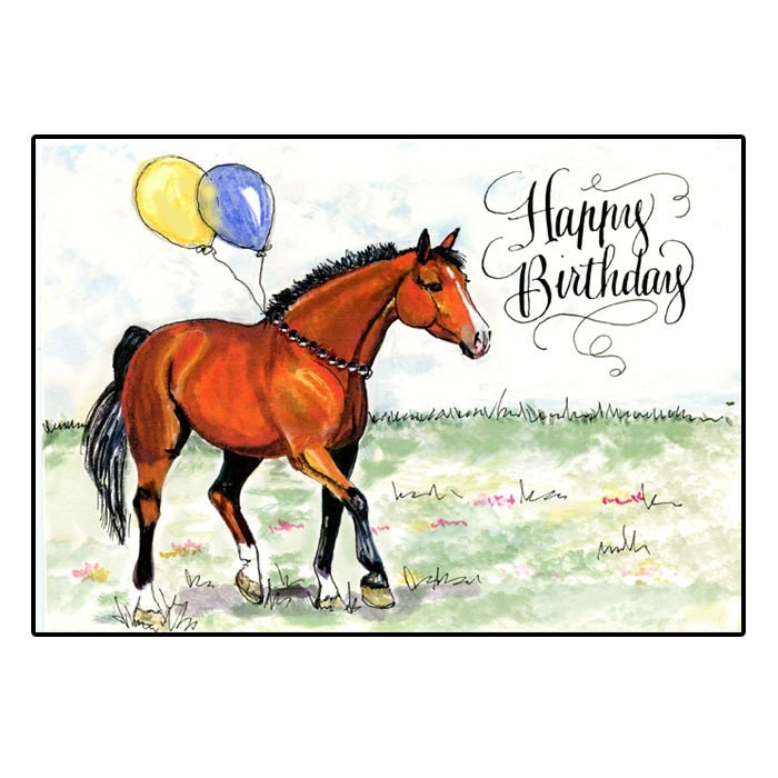 Horse Birthday Card With Hand Calligraphy