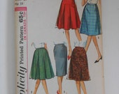 Vintage 60s Five Skirt Wardrobe Pattern Simplicity 5627 Waist 24  UNCUT