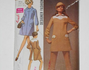 Vintage 60s Dress and Pants Pattern Simplicity 8337 Size 10 Bust 32 1/2