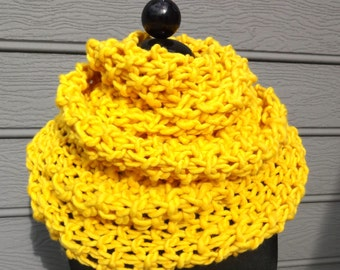 Yellow Scarf - Knit Scarf - Chunky Scarf - Cowl - Shoulder Wrap - Huge Scarf - Wool - Infinity Scarf - Yellow Knit Scarf