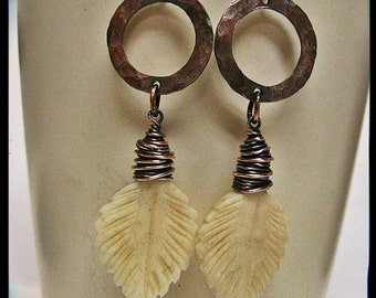 Wire Wrapped Carved Bone Feathers and Hammered Copper Washers
