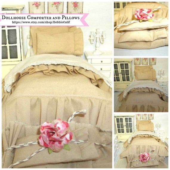 Miniature Natural Color dollhouse Comforter set
