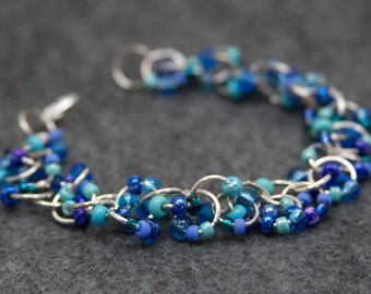 Blue Beaded Bracelet / Silver Links Turquoise Teal Jewelry / Fun Simple Aqua Periwinkle Navy Piece by randomcreative on Etsy