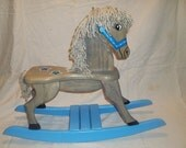 Blue Star Wooden Rocking Horse