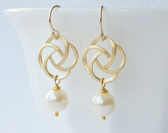 Pearl Gold Knot Dangle Earrings Wedding Jewelry, Pearl Dangle Drop Earrings