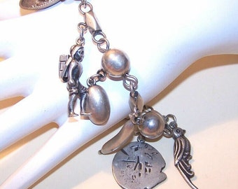 Vintage STERLING SILVER Charm Bracelet with Charms by Parra, Mexico....
